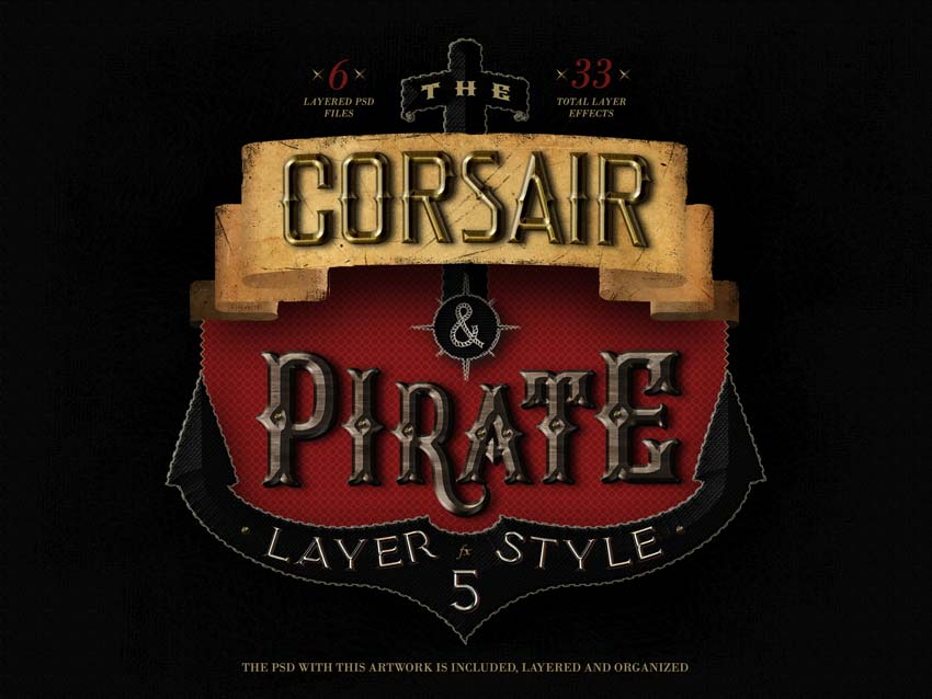 The Corsair and Pirate Photoshop Text Effect