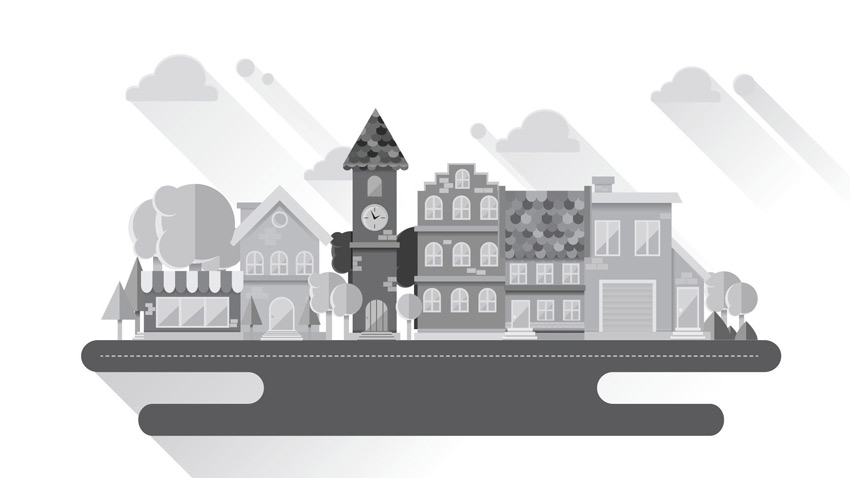 Grayscale Cityscape Adobe Illustrator Tutorial
