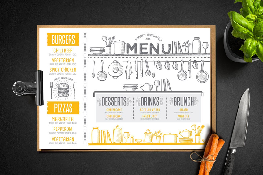 29 Delicious Menu Templates for Restaurants & Cafes