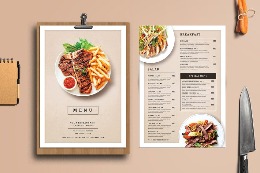 29 delicious menu templates for restaurants cafes for Cuisine restaurant