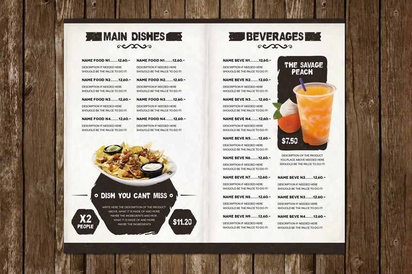 The Ristorante Food Menu Illustrator Template