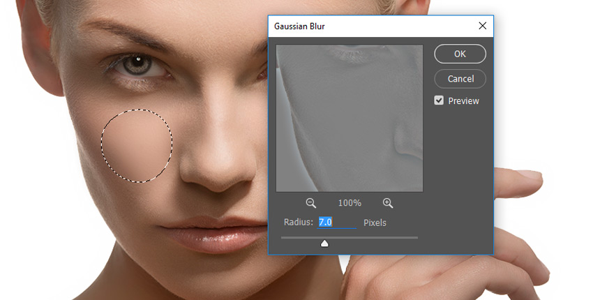 Smooth the skin with gaussian blur and frequency separation