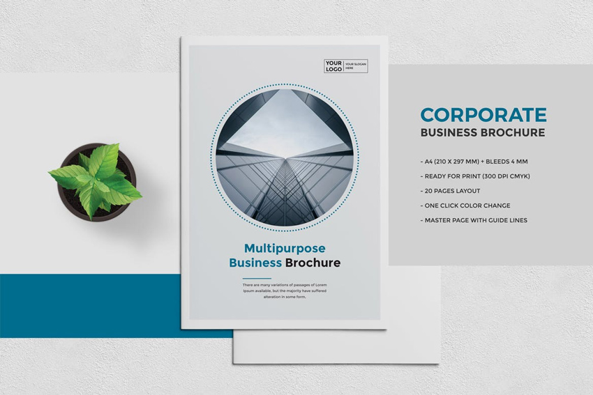 25 best professional brochure templates blue business brochure template wajeb Image collections