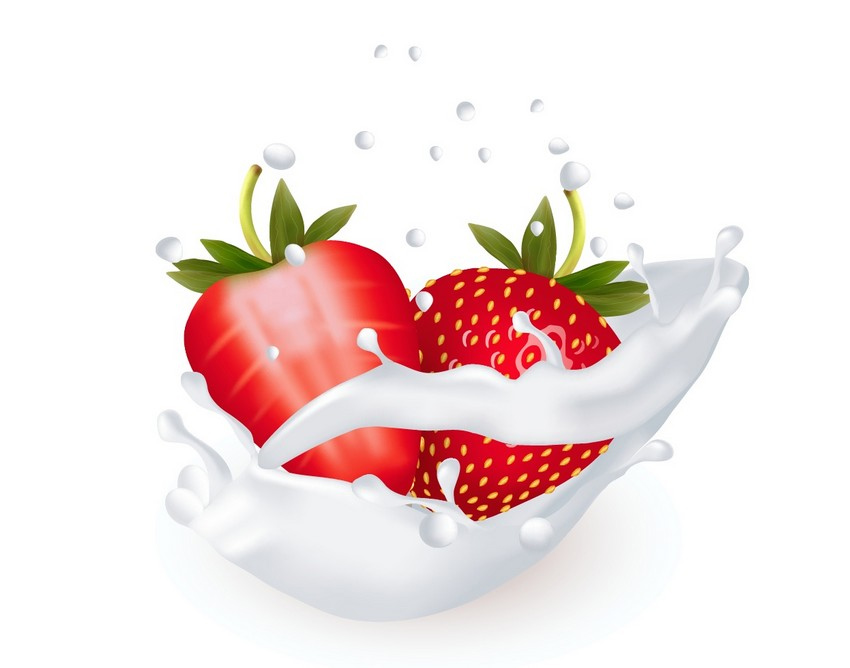 Strawberry in Milk Vector Illustration Adobe Illustrator Tutorial