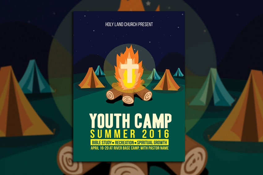 Youth Camp Church Flyer Template