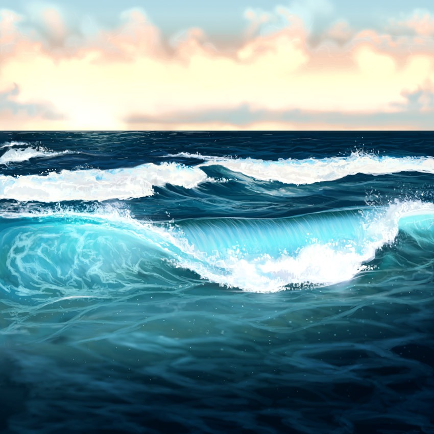 How to Paint Water Ocean and Waves Photoshop Tutorial by Melody Nieves