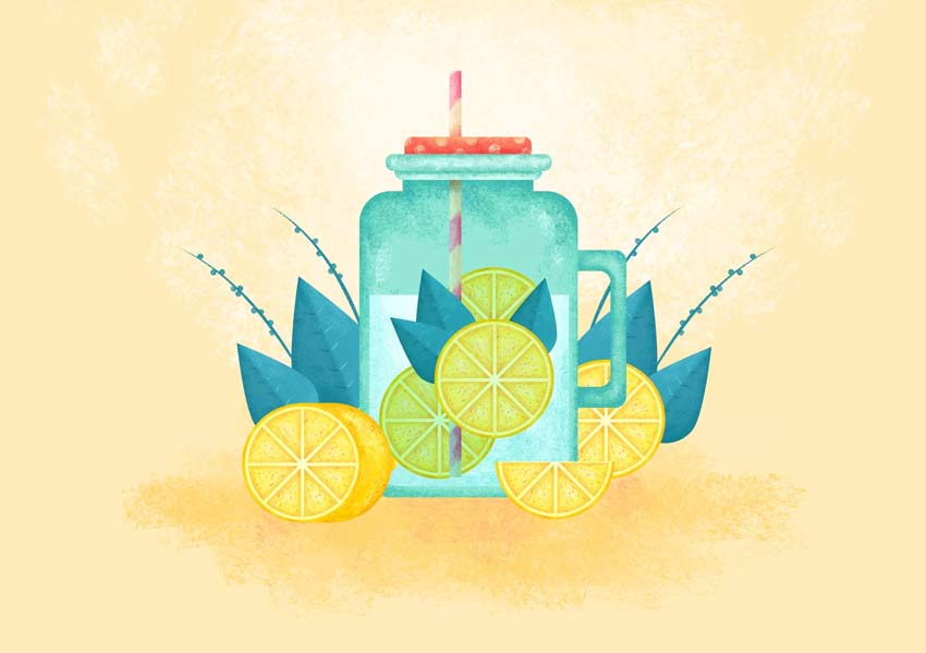 Flat Lemon Drink Illustration Photoshop Tutorial