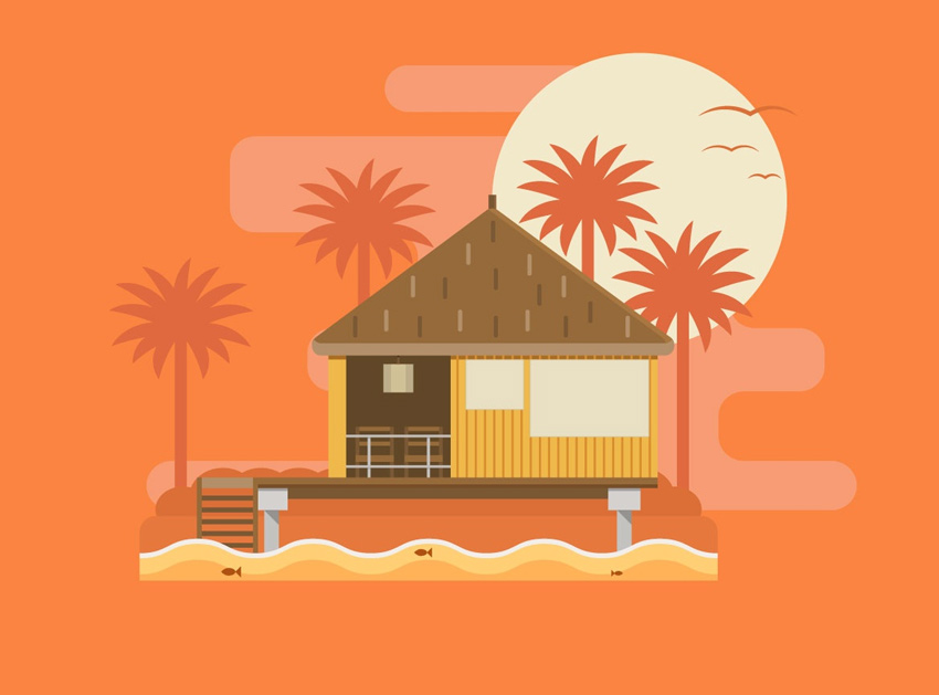 Tropical Bungalow Illustration Illustrator Tutorial