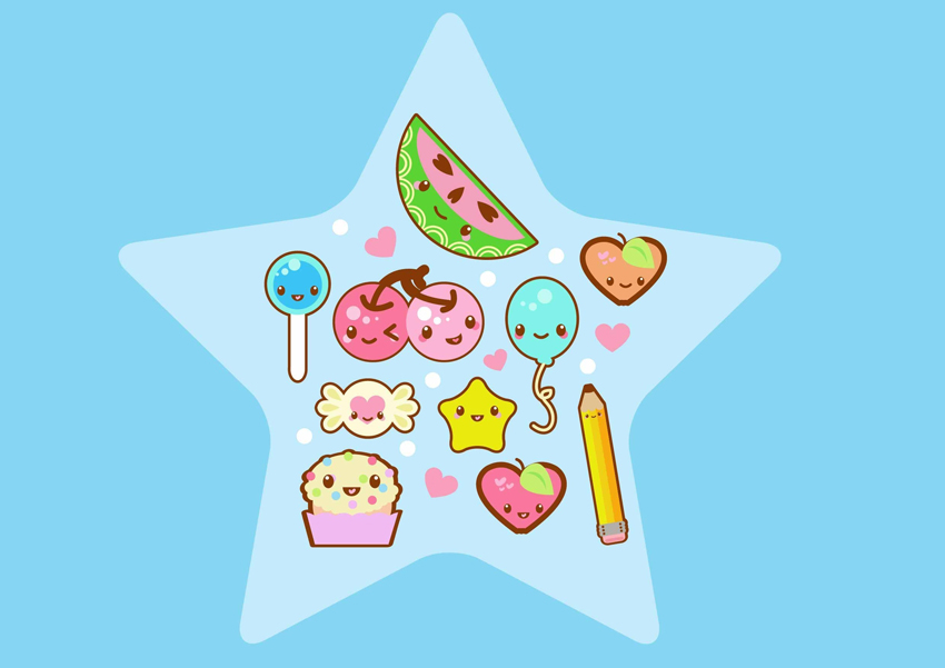 Kawaii Fruit Collage Adobe Illustrator Tutorial