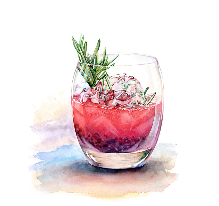 Watercolor Drinks and Deserts by Kateryna Savchenko