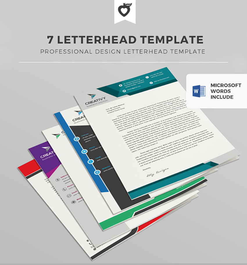 25 professional modern letterhead templates 7 letterhead template spiritdancerdesigns Image collections