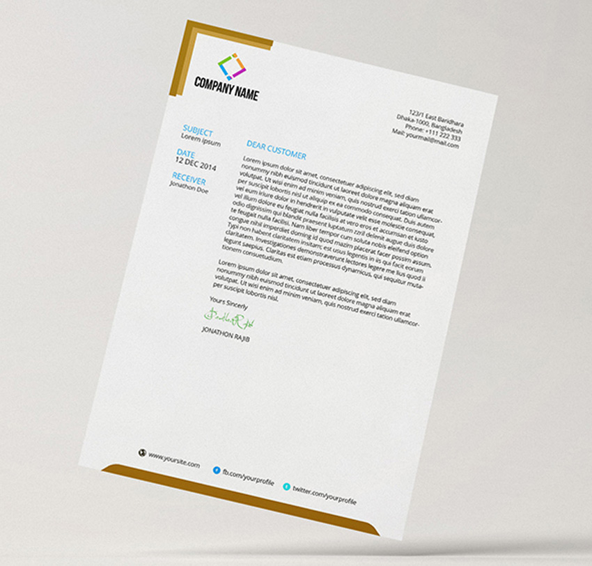 Slim Letterhead Pad With MS Word Doc