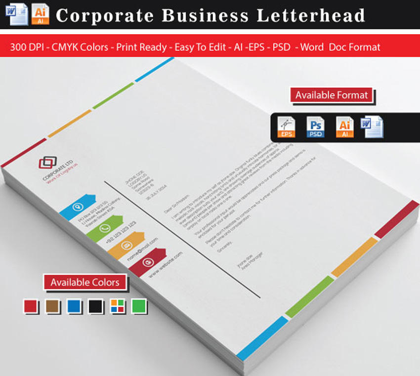 25 professional modern letterhead templates colourful business letterheads spiritdancerdesigns Images