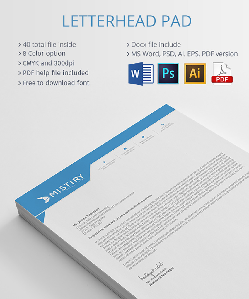this massive letterhead bundle includes 40 print ready files it features a minimalist design with eight unique color schemes to choose from
