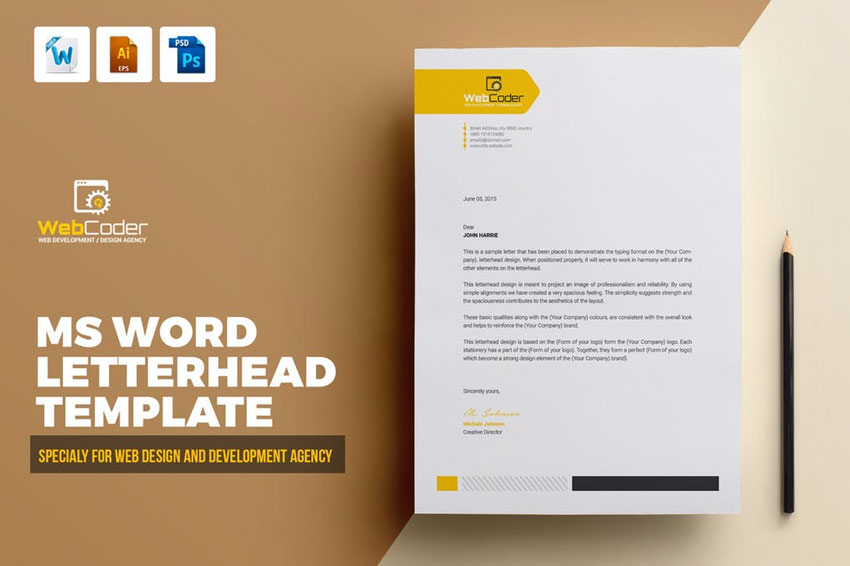 25 professional modern letterhead templates for Microsoft word graphic design