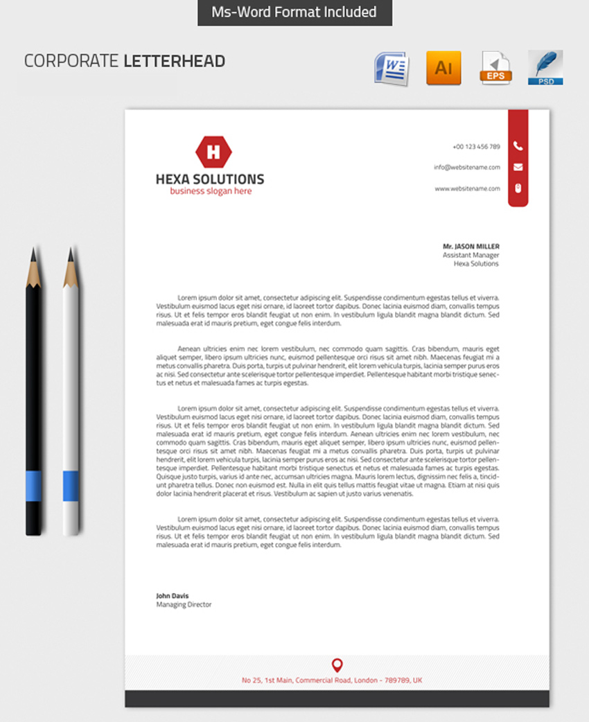 25 professional modern letterhead templates corporate letterhead with ms word 01 altavistaventures Image collections