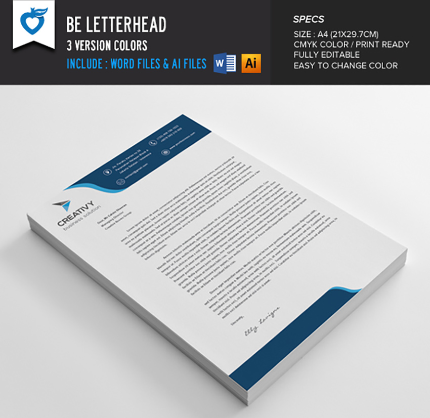 Be Letterhead Template  Free Word Letterhead Template