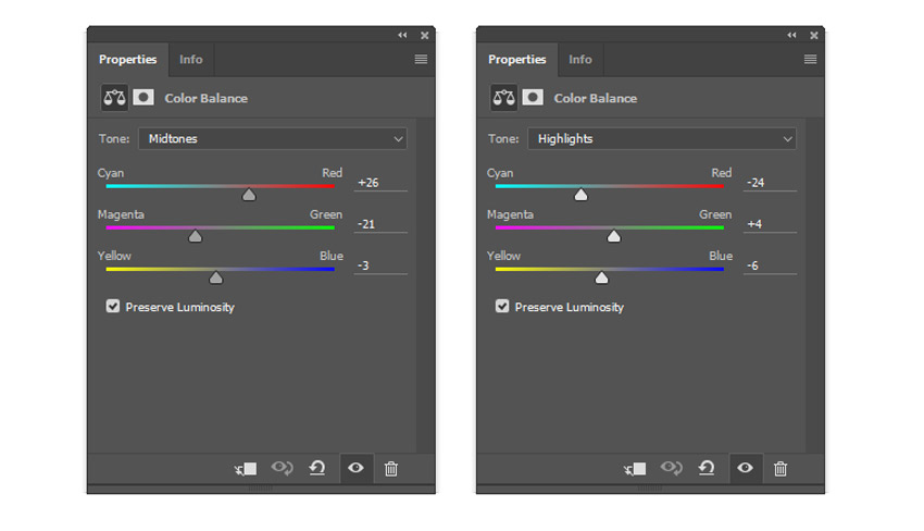 Color Balance settings