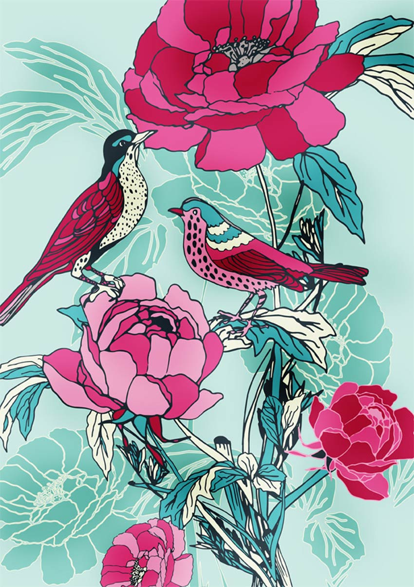 Birds  Roses by Ella Tjader