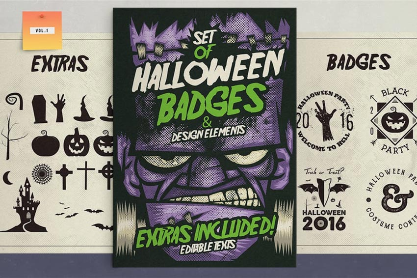 Halloween Badges  Extras Vol1