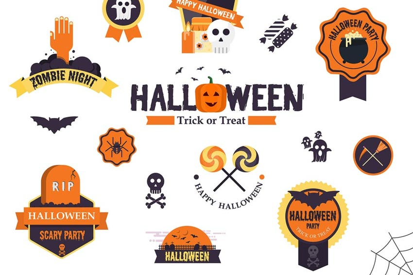 Halloween Flat Designed Badges