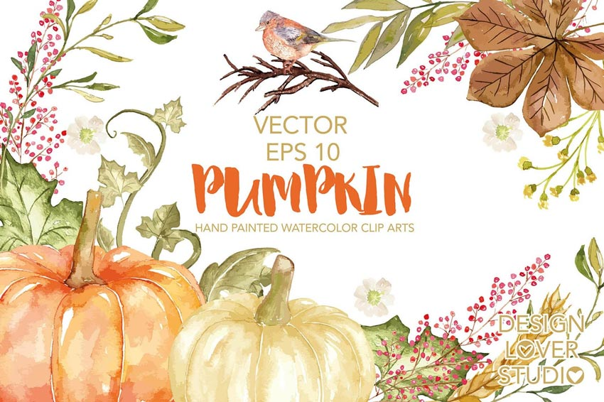 Vector Watercolor Pumpkin