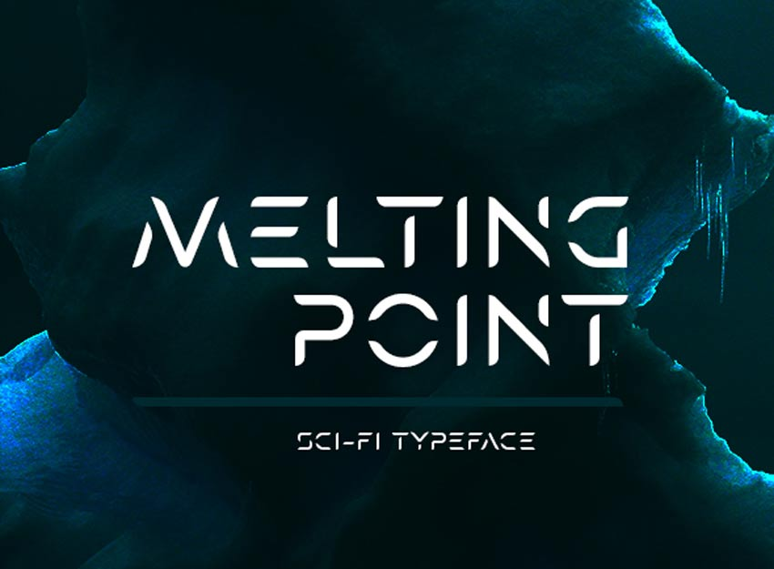 Melting Point Sci-fi Stencil Font