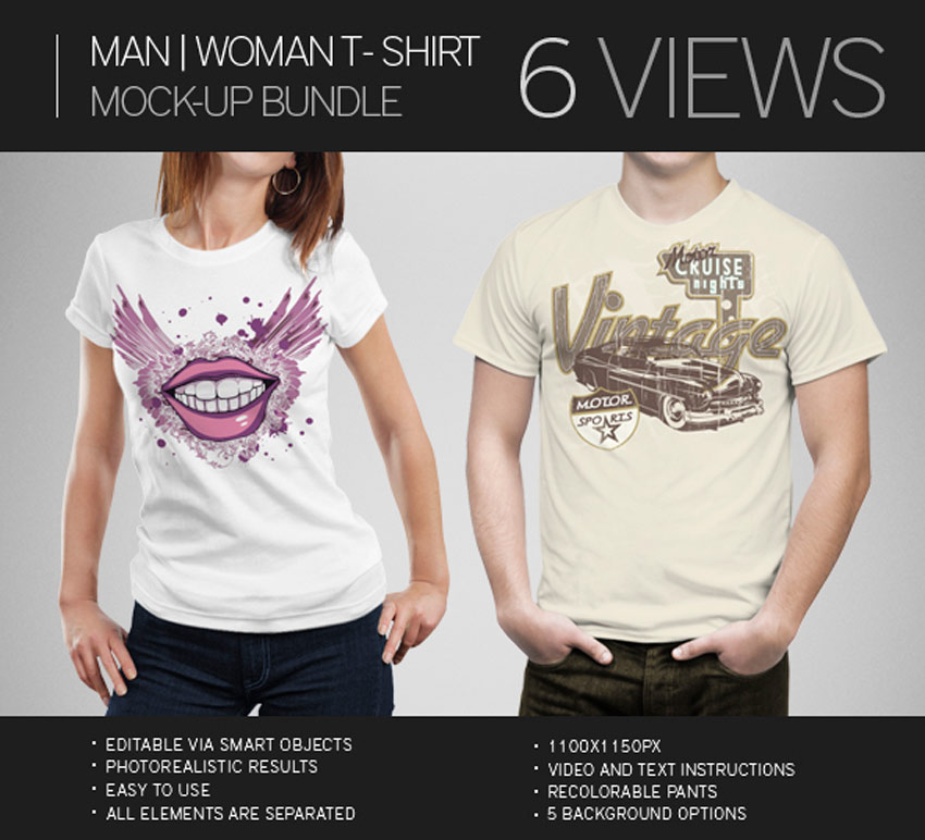 Man and Woman T-Shirt Mock-Up Bundle