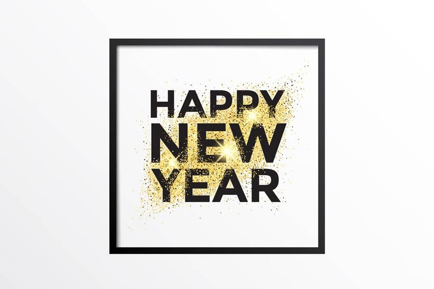gold glitter new year card