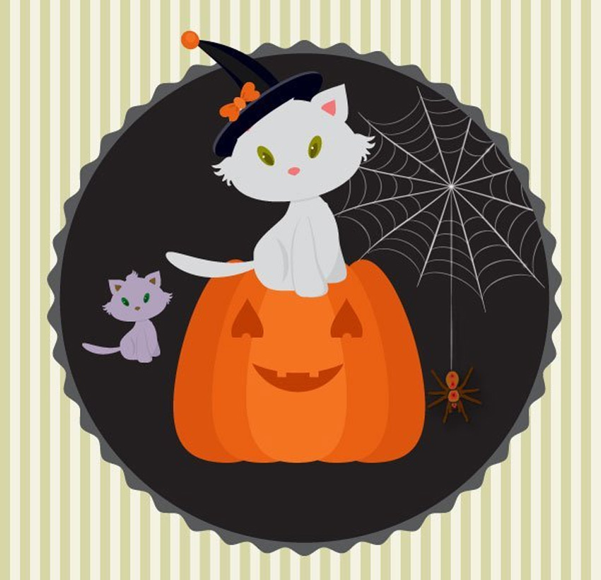 Create a Halloween Illustration With a White Kitten in Adobe Illustrator