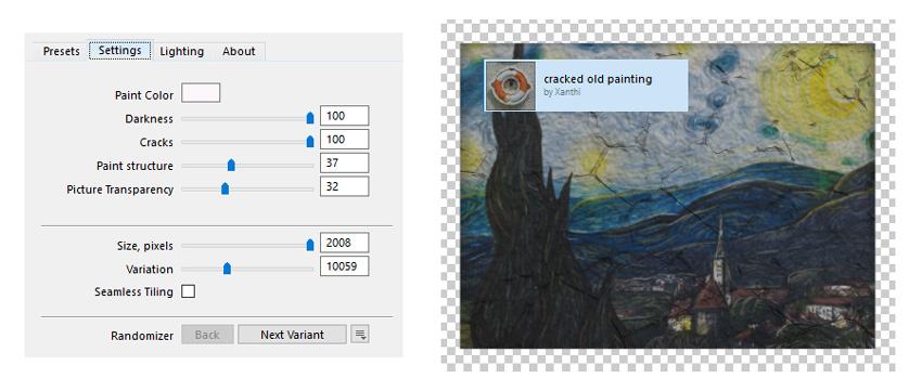 Add a cracked painting filter