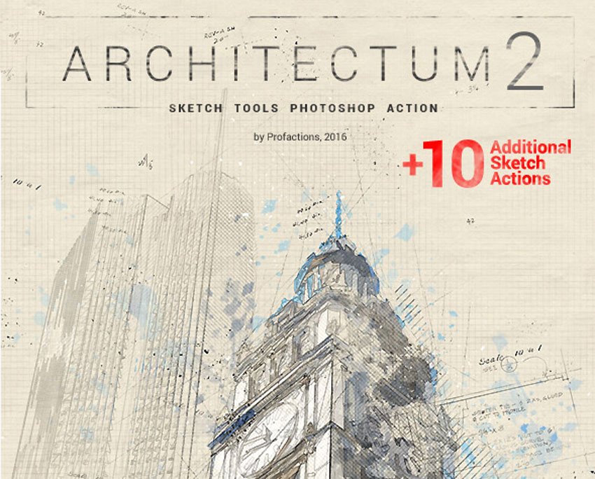 Architectum 2 - Sketch Tools Photoshop Action