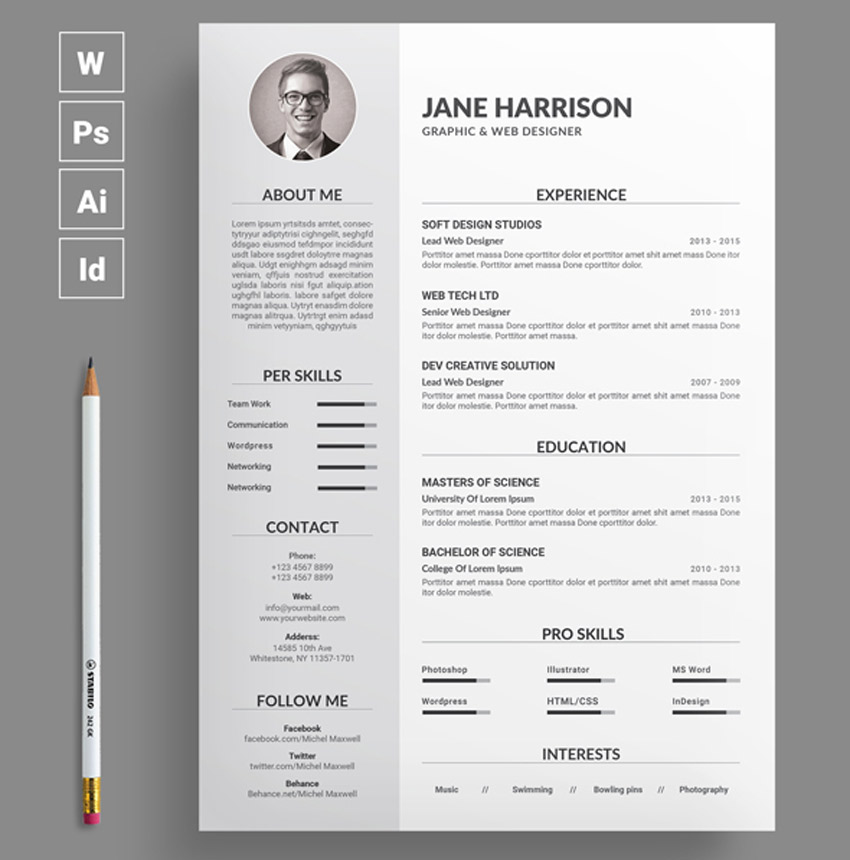 best of 2017 stylish professional cv resume templates. Black Bedroom Furniture Sets. Home Design Ideas