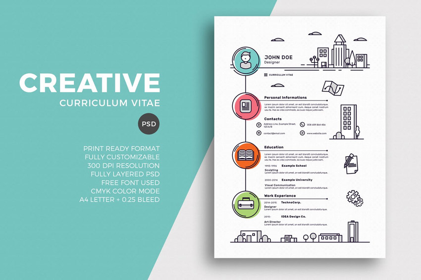 Attractive Creative Resume CV Template