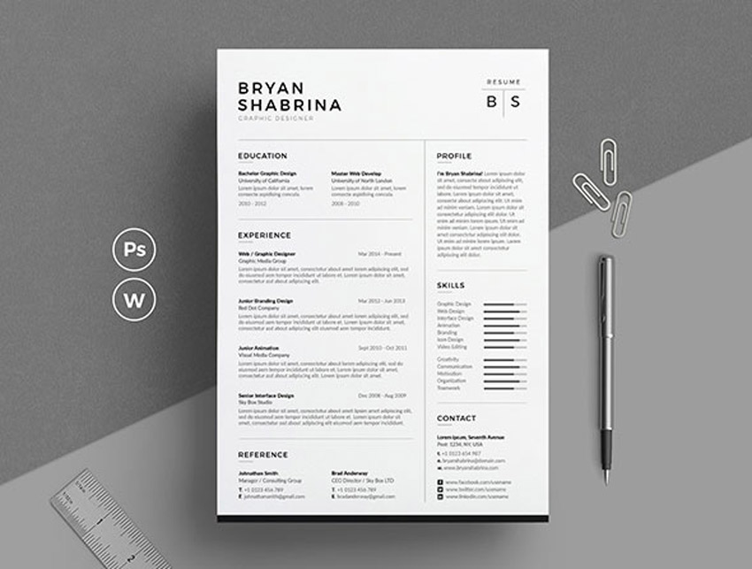 Best Of 2017: Stylish, Professional CV & Resume Templates