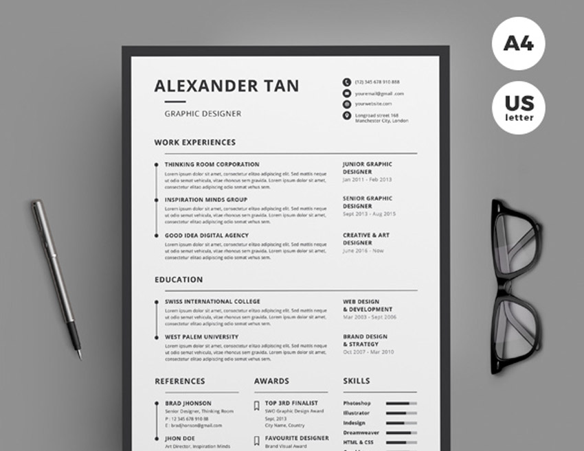 Best of 2017 stylish professional cv resume templates cv template yelopaper Images