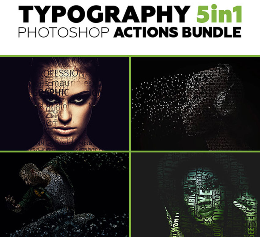 Typography Photoshop Actions Bundle