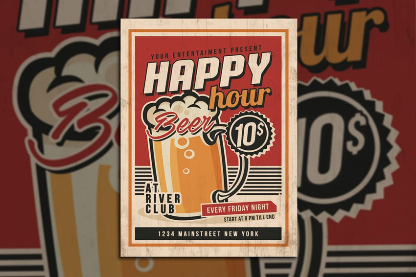 Happy Hour Vintage Flyer