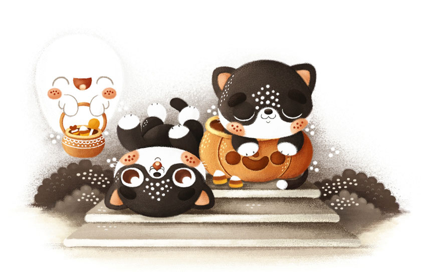 Halloween Cats by Tamara Domuzin