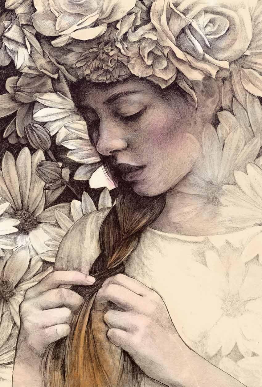 Girl with Flowers by Vinja Mihatov Bari