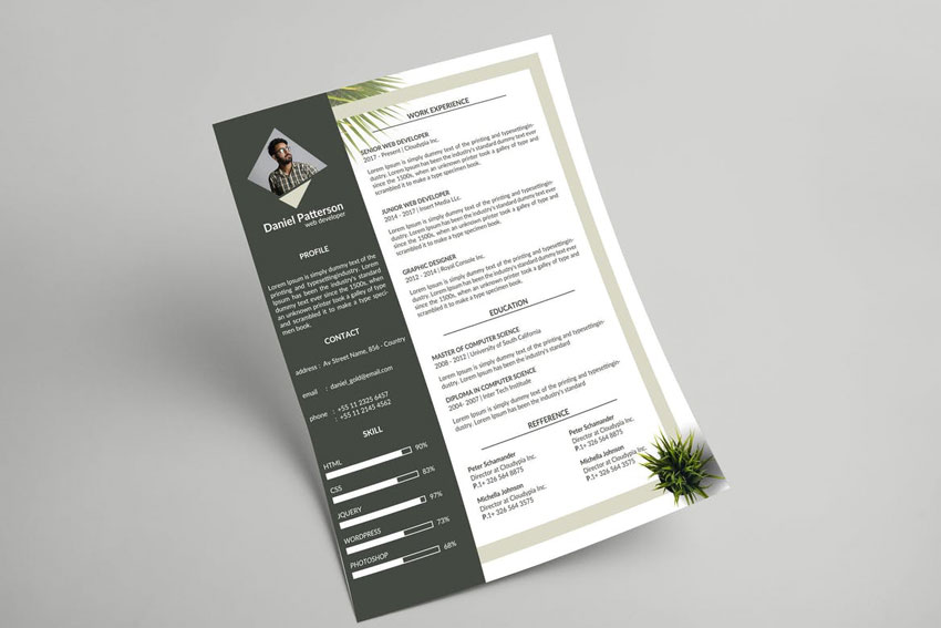 Botanical Resume  Letterhead Template