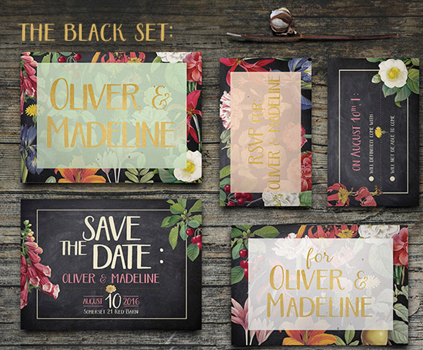 Vintage Floral Wedding Invitation
