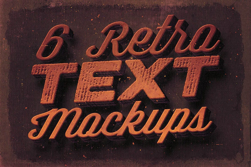 6 Retro Text Mock-ups