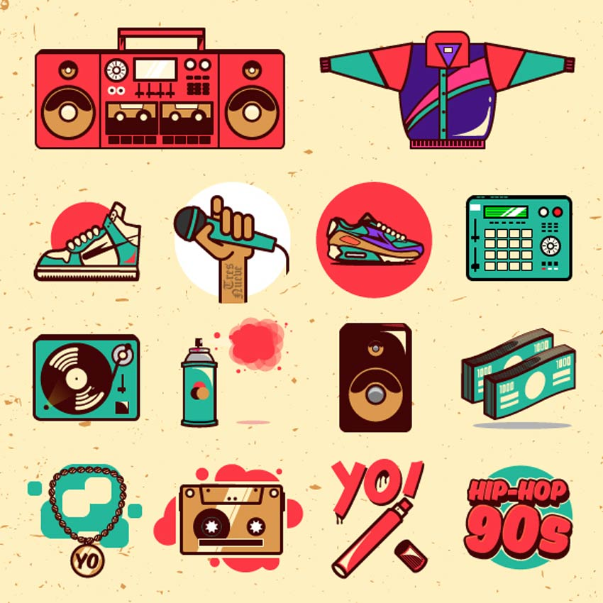Hip-hop 90s Illustrations Pack