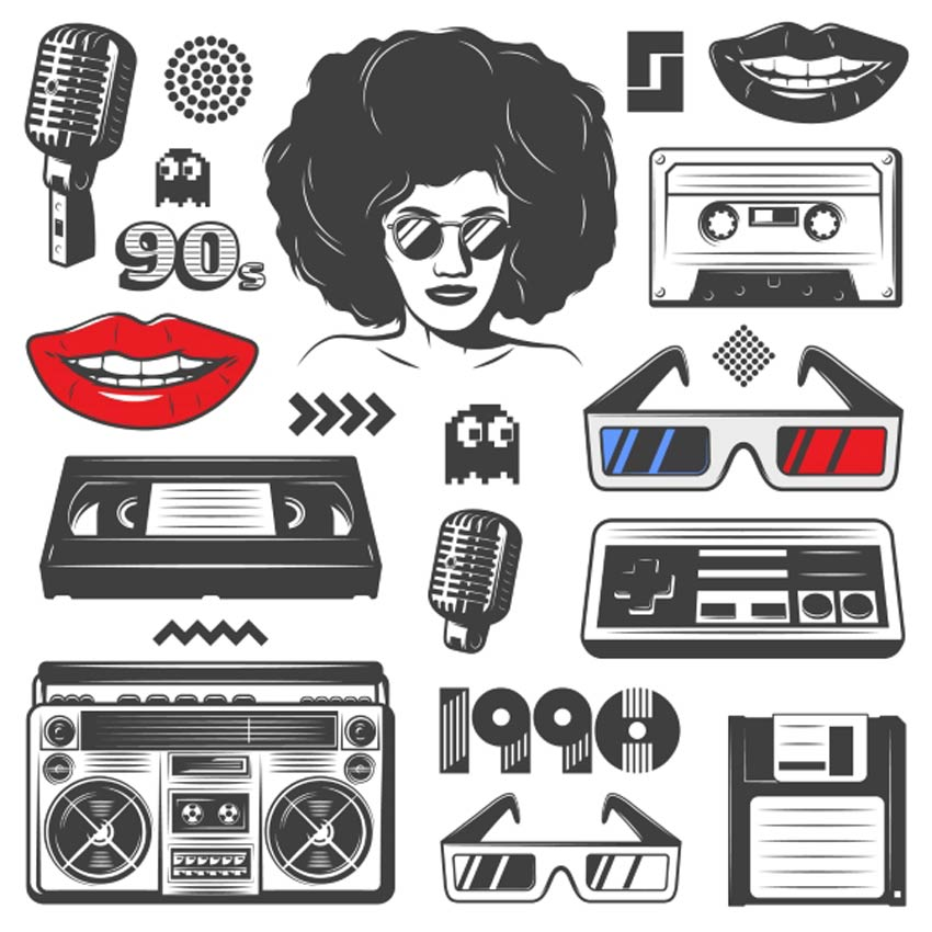 Vintage 90s Style Elements Set