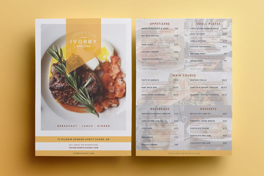 New Tasty Restaurant  Cafe Menu Templates For