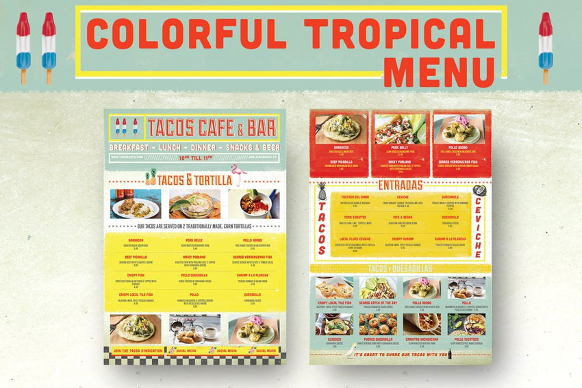 Colorful Tropical Menu