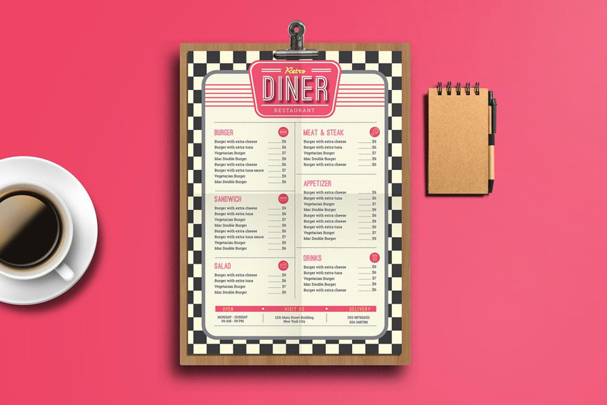 Retro Diner Food Menu