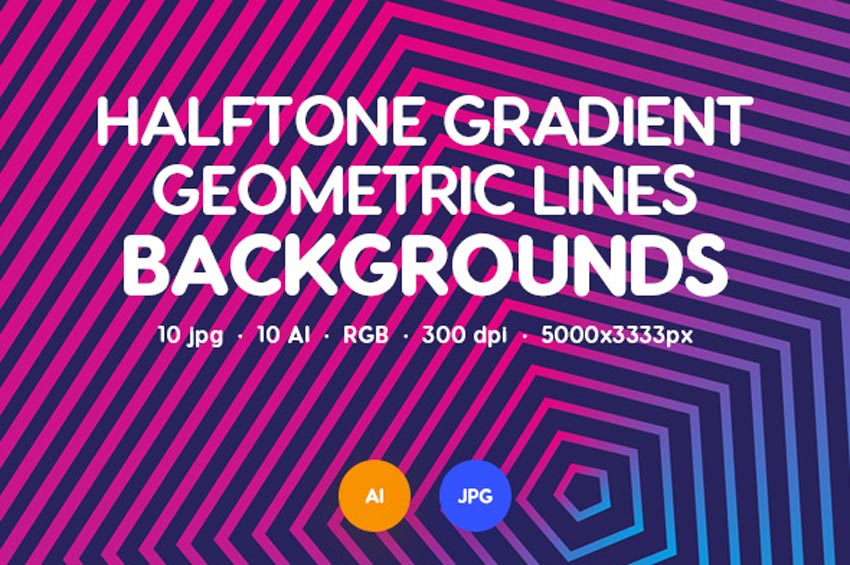 Halftone Gradient Geometric Lines Backgrounds