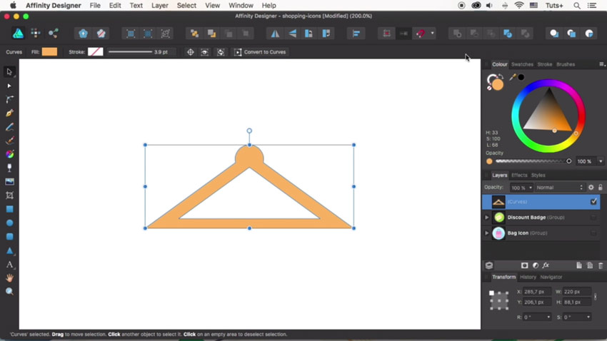 How to Design Flat Icons in Affinity Designer: Discount Badge and Hanger Icons